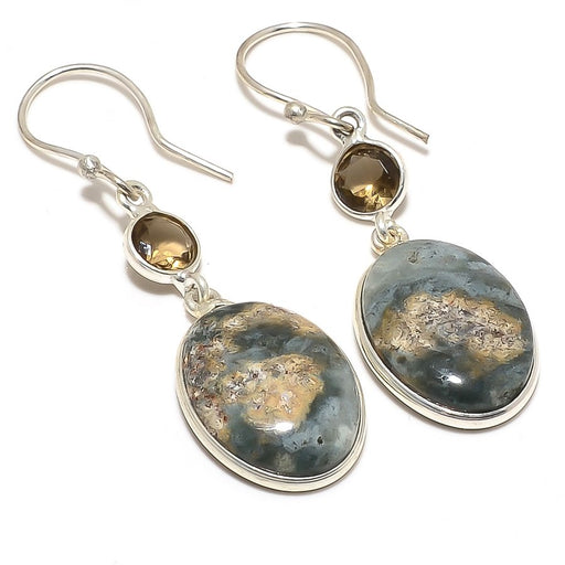 Moss Agate, Smokey Topaz Ethnic Jewelry Earring 2.0 Inches RJ4098