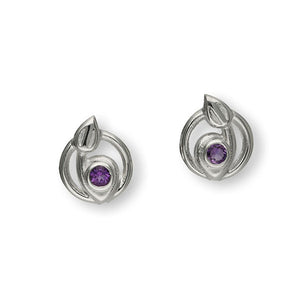Charles Rennie Mackintosh Silver Earrings CE201 Amethyst