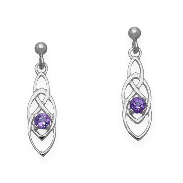 Celtic Silver Earrings CE391 Amethyst