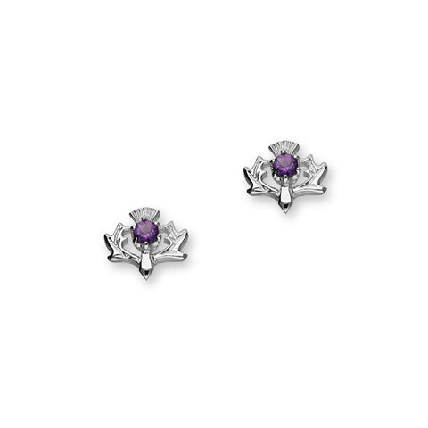 Thistle Silver Earrings CE8 Amethyst