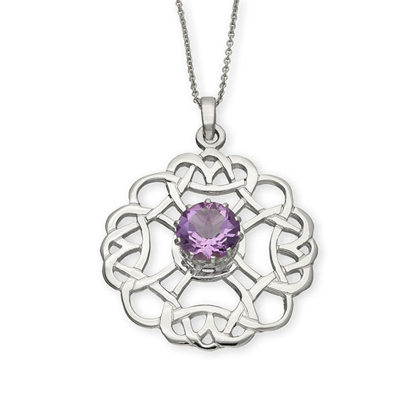 Celtic Silver Pendant CP27 Amethyst
