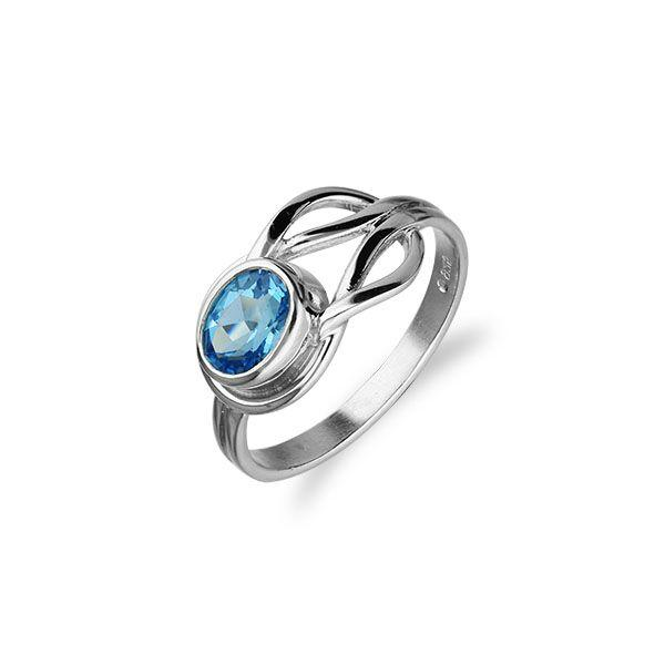 Celtic Silver Ring CR50 Blue Topaz