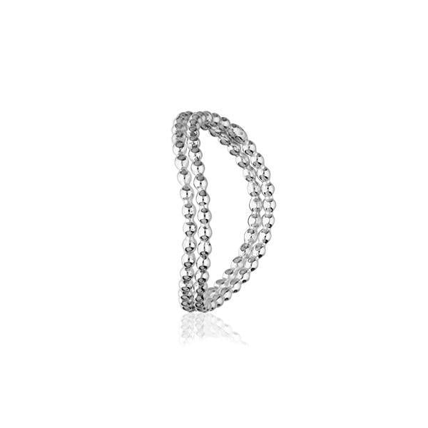 Indie Double Beaded Wave Silver Ring FR 25