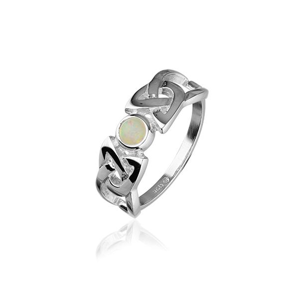 Celtic Silver Ring SR110 White Opal