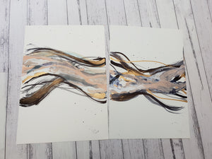 White, Black, blush & gold experimental A3 sized paintings (unframed)