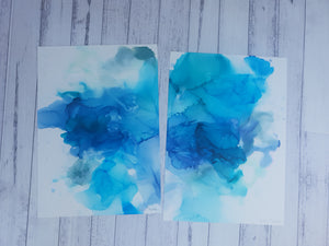 "Blue ""Into the water"" set. Both A3 sized original unframed paintings"