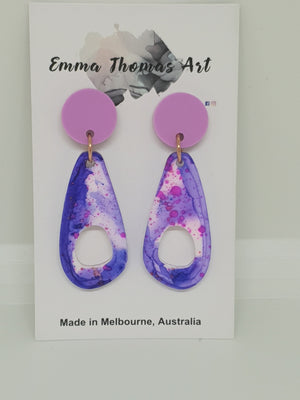 Hand painted Navy and pink Acrylic Earrings with pink stud