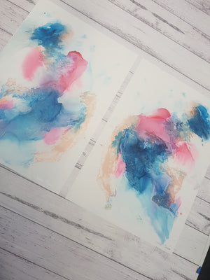 """Unicorns"" A3 original unframed experimental artwork set"