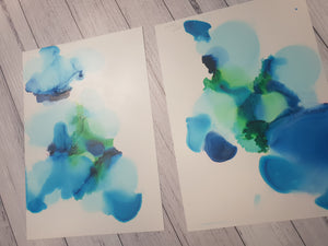 """Clouds"" A4 original unframed experimental artwork set"