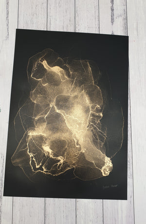 "Black and gold A3 original sized unframed artwork ""Timeless"""