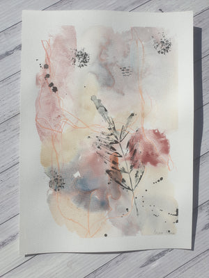 "Mixed media botanical artwork ""Neutral part 3"""