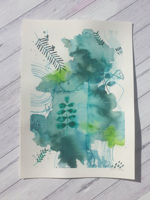 "Mixed media botanical artwork ""Rainforest part 2""  green, lime and teal painting"