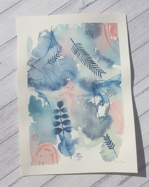 "Mixed media botanical artwork ""Dreams"" pink and navy painting"
