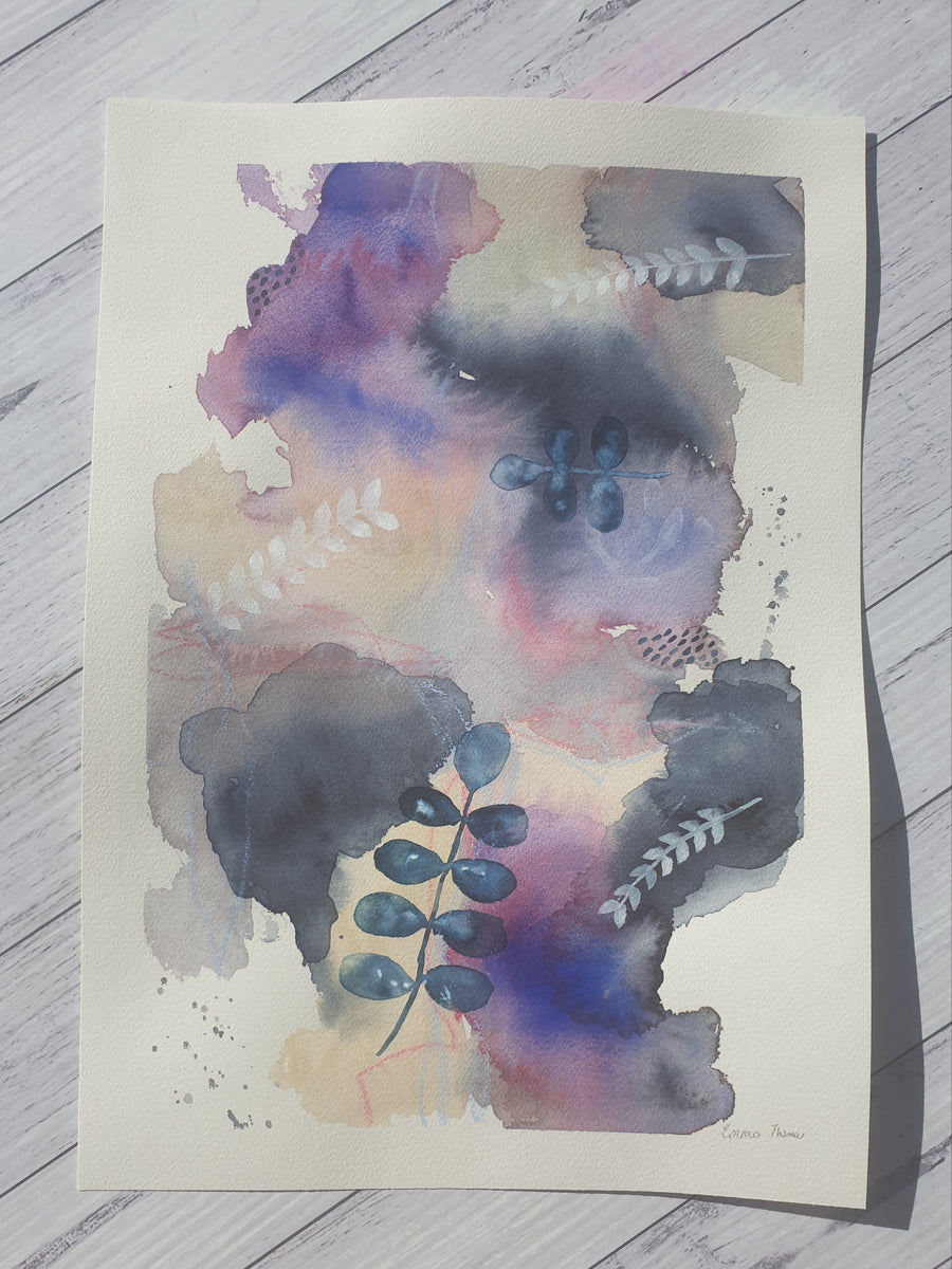 "Mixed media botanical artwork ""Haze"" purple and navy painting"