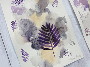 "Mixed media botanical artwork ""Fairy"" purple painting"