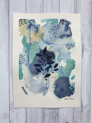 "Mixed media botanical artwork ""Elements"" green, navy and baige painting"