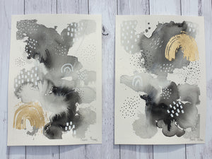 "Mixed media rainbow artwork ""B & W"" black and grey painting with golden rainbow highlights"