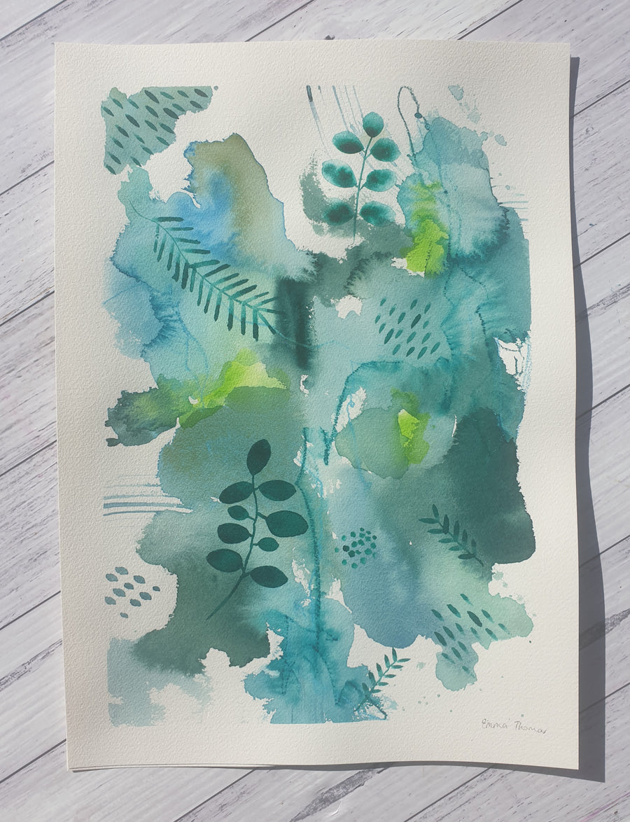 "Mixed media botanical artwork ""Rainforest part 1""  green, lime and teal painting"