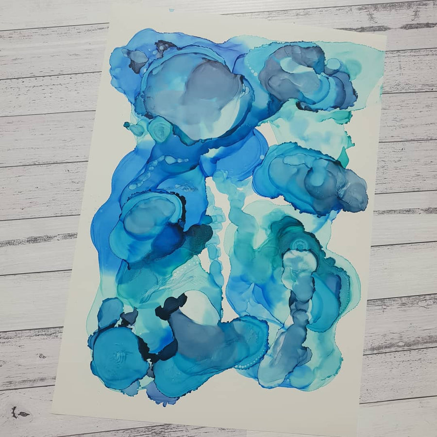 A2 original 'Dive' blue teal original artwork