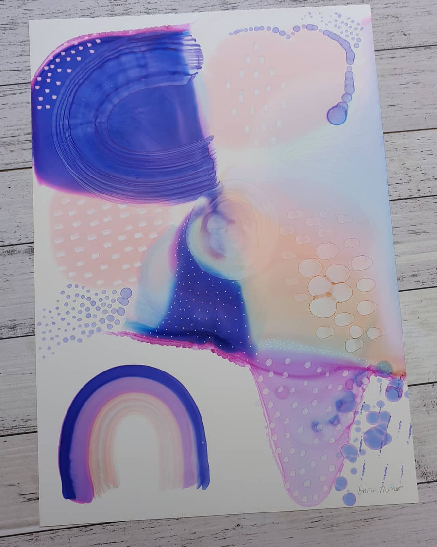"""Iso Rainbows"" Day 26 indigo and peach fantasy painting"