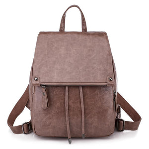 Oil wax Leather Rucksack Fashion Drawstring School Back packs