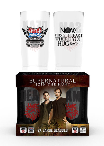 Supernatural Dean and Sam Large Glasses Twin Pack