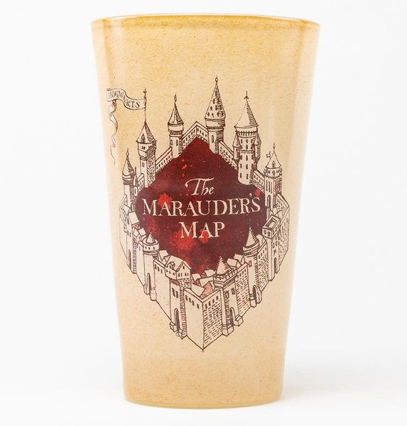 Harry Potter Marauders Map Coloured Large Glass