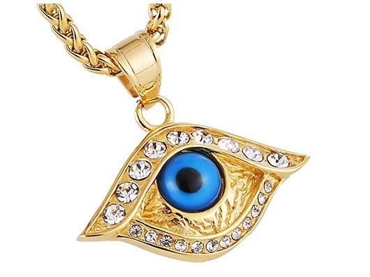18k Gold Plated Iced Out Eye of Horus Egypt Protection Cross Dog Tag Pendant