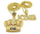 18k Gold  Plated King Crown Black & Gold, King ICED Out Hip HOP Pendant Box Chain Necklace Set of 2