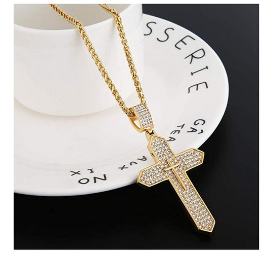 Mens Iced Out Cross Cz Inlay Pendant 18k Gold Plated Stainless Steel Hip-Hop