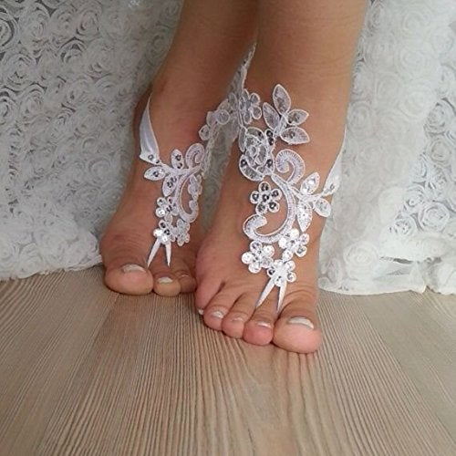 Destination Wedding Lace Barefoot Sandals Bridal Beach Footwear