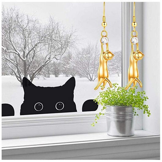 Cute Hanging Cat Ear Pendant Platinum Gold Plated Drop Earings With Rhinestone