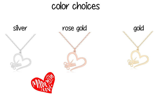 Dainty  Scissors Combs Heart Hairdresser gift  Chain Necklace