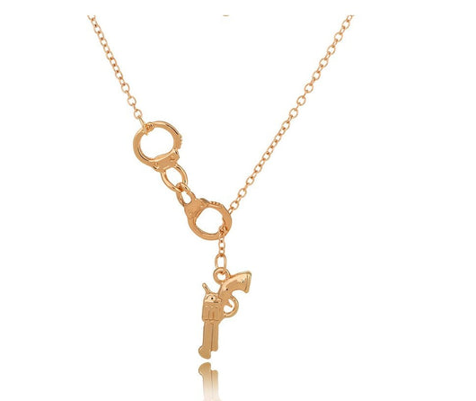 18k Gold Plated Lariat Style Handcuffs and Pistol necklace Police Officer Perfect Gift