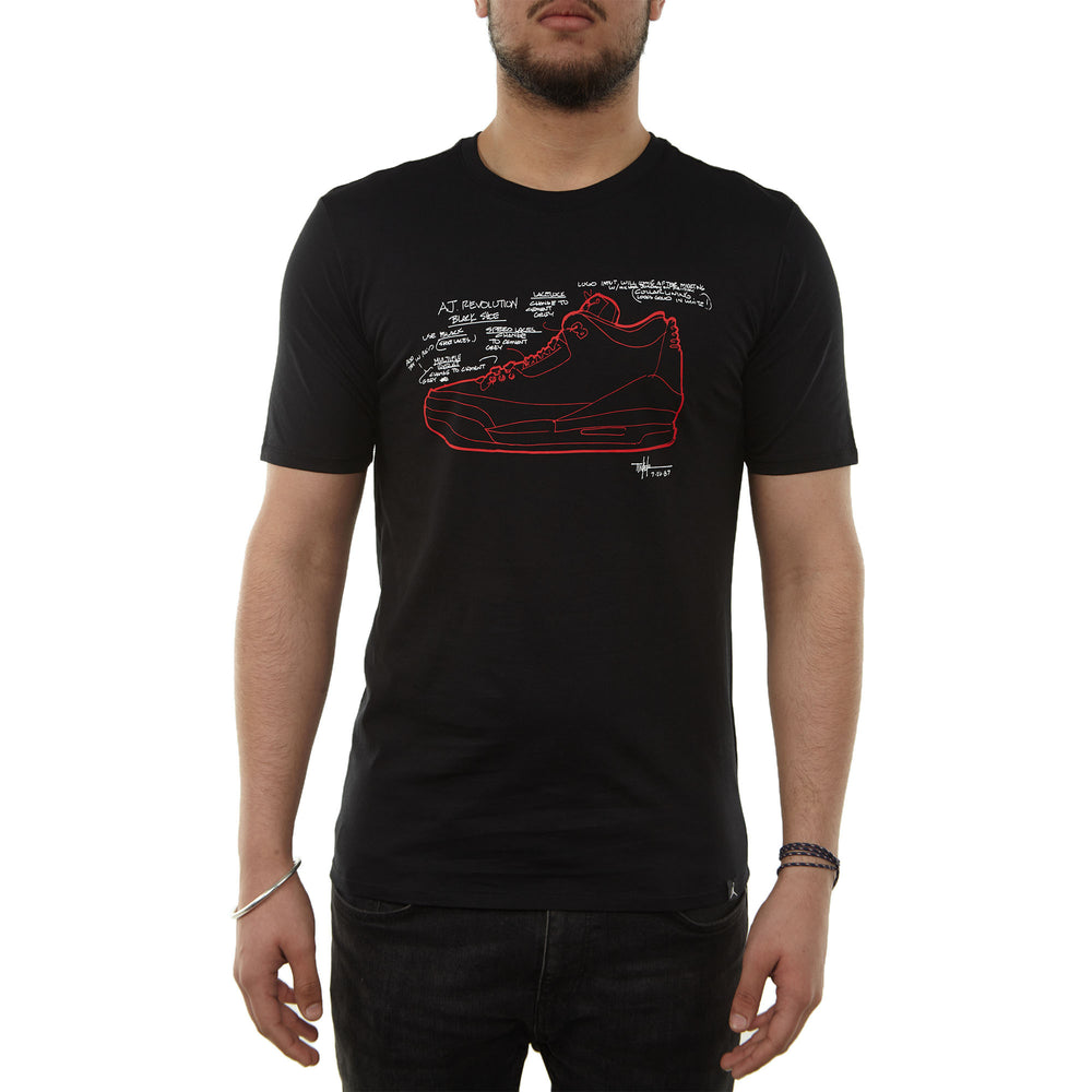 Jordan Retro 3 Sketch T‑shirt Mens Style : Ao8937