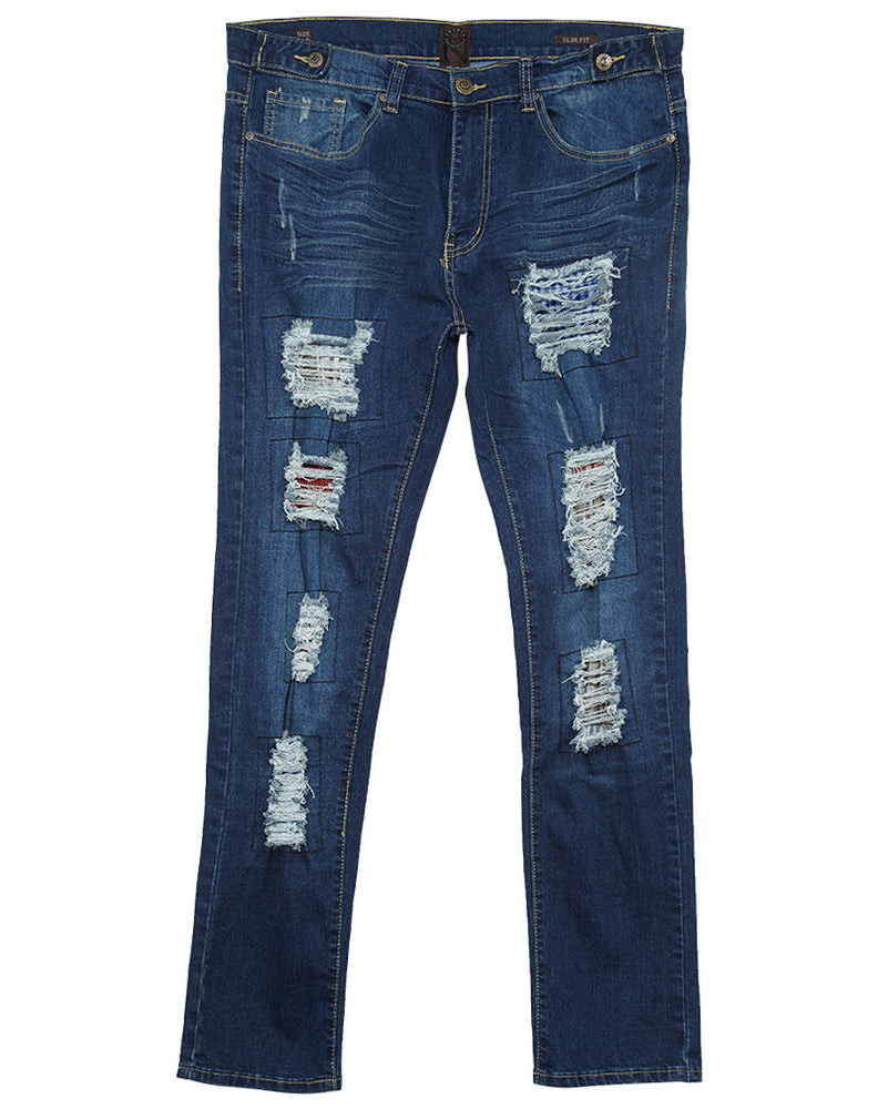 Ubuntu Revolution Rip & Tears Patched Denim Jeans Mens Style : 7118
