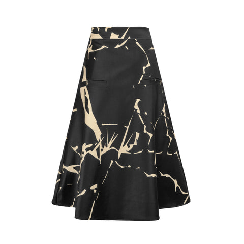 A black a-line skirt with gold cracked print
