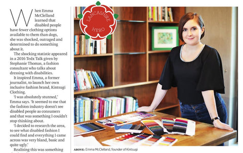 A snapshot of an article in Lancashire Life, including a photograph of Emma leaning against a table covered in fabric swatches