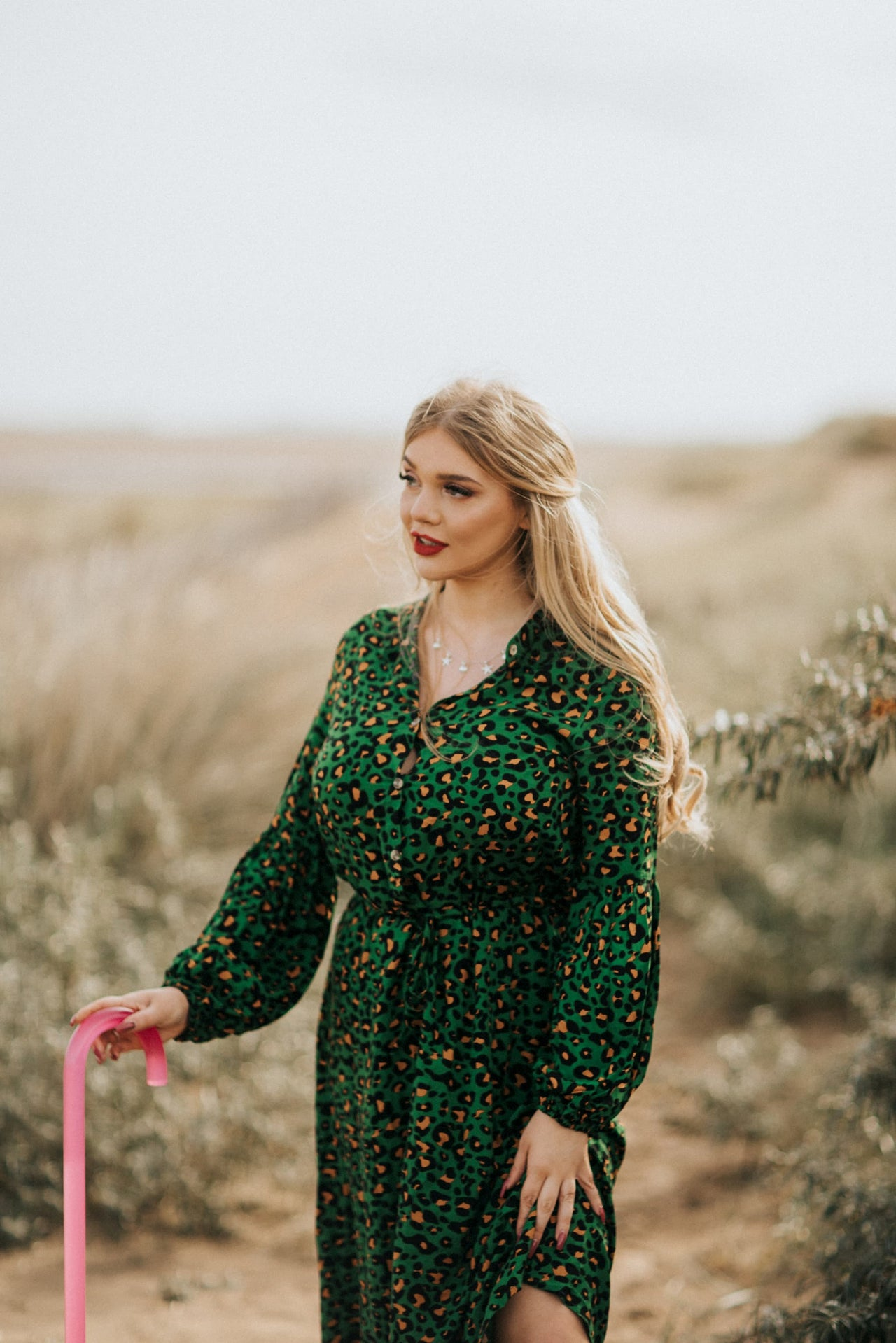 'Dottie' animal print dress in green
