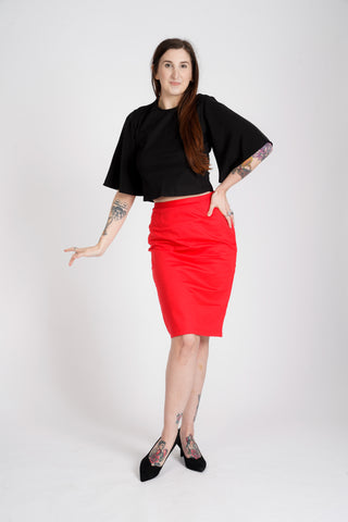 'Frances' port-access top with fluted sleeves