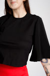 'Frances' port-access top with soft sleeves