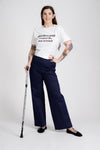 'Kelly' high-waisted, wide-leg navy trousers