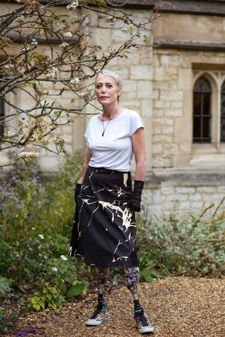'Kintsugi' A-line skirt with pockets and velcro fastening