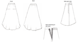 Kintsugi print skirt - a designer's sketch showing the skirt from all angles