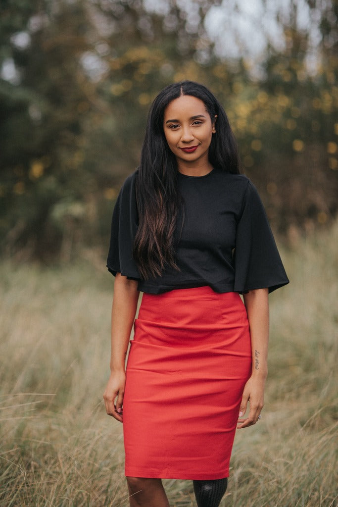 'Frances' side-fastening pencil skirt in red