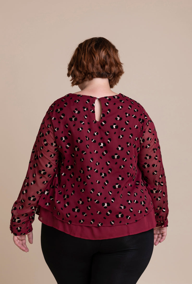 'Camille' Plus-Size Top in Red