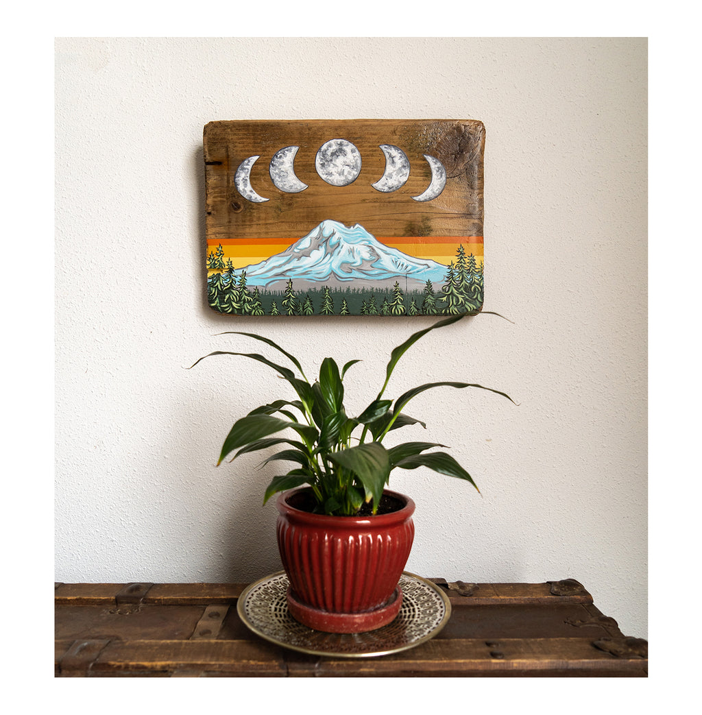 """Mount Baker Moons"" Driftwood Original"