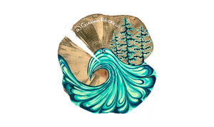 """PNW Wave"" Pine Round Sticker"
