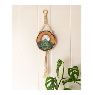 """Harvest Moon"" Macrame Wood Round"