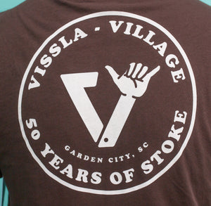 Village || Vissla 50 Years Of Stoke Brown Pocket Tee